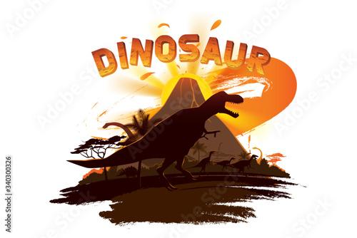 Dinosaurs in prehistoric scene background. Tablou Canvas