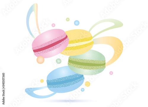 Fototapeta vier Macarons in zarten Pastell Farben mit Band obraz