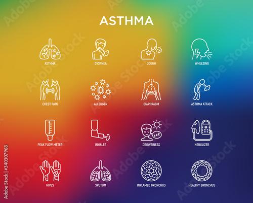 Photo Asthma thin line icons set: allergen, dyspnea, cough, wheezing, chest pain, diaphragm, asthma attack, hives, sputum, peak flow meter, inhaler, nebulizer