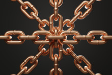 Golden Brass Chains Connected By One Link Isolated On Black Background. 3d Rendering - Illustration.