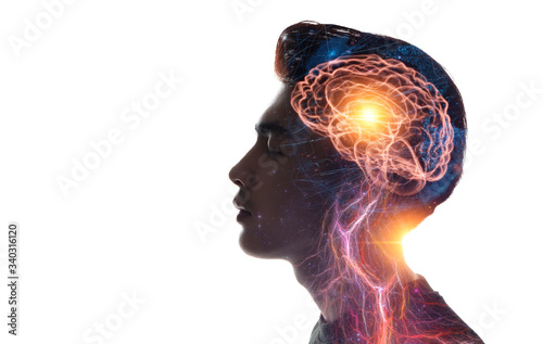 Human head and brain Fotobehang