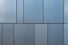 Stainless Steel Facade Cladding Shining In Different Grey And Blue Tones Building Texture