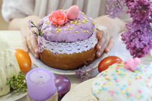 Children's Hands With Easter Decoration