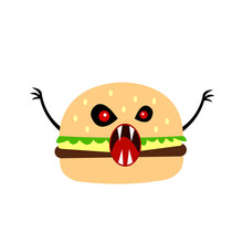 Burger Monster Cartoon Character With Open Mouth With Sharp Fangs