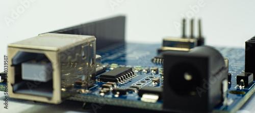 Fotografia de aproximacion de una placa electronica Canvas Print