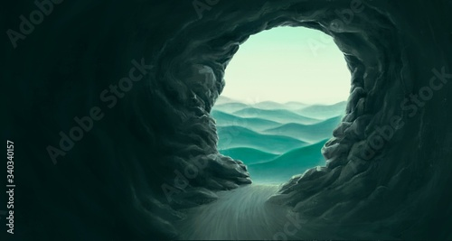Painting of surreal cave gate to mountain landscape