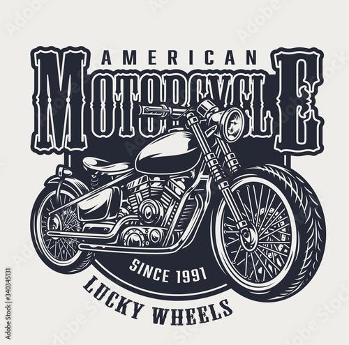 American motorcycle vintage emblem Fototapet