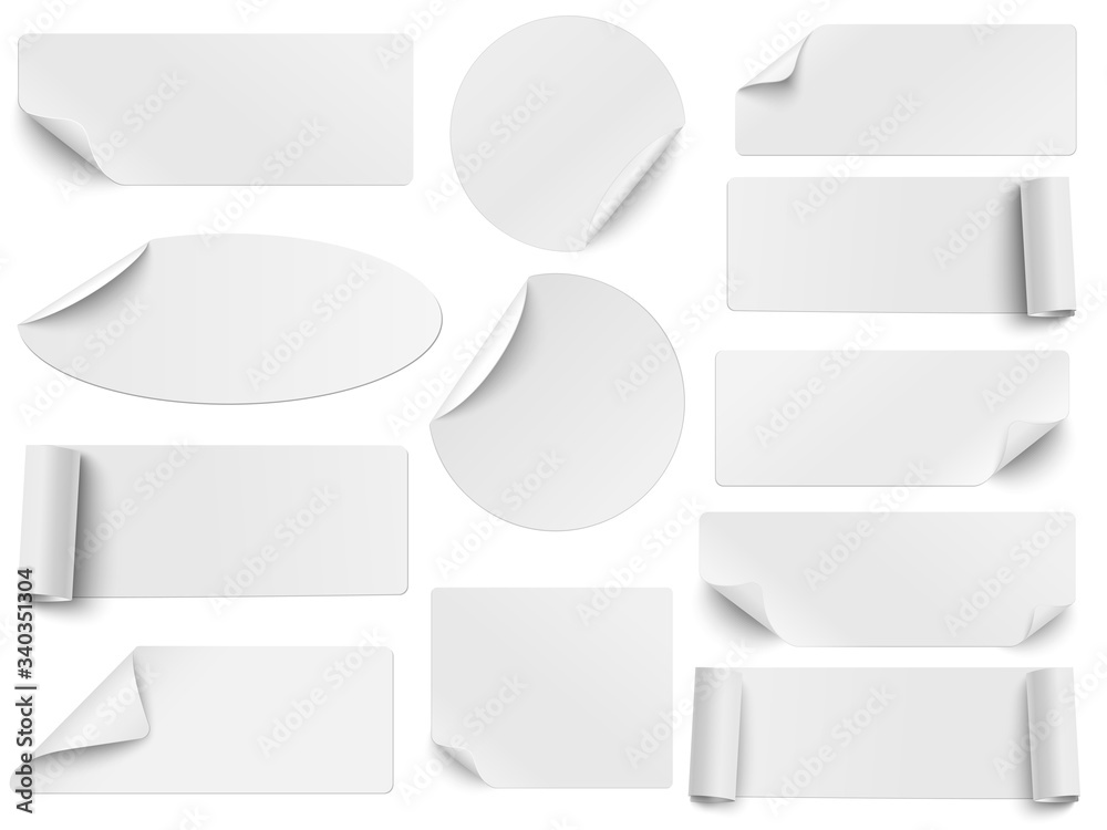 Fototapeta Set of vector white paper stickers of different shapes with curled corners isolated on white background. Round, oval, square, rectangular shapes.