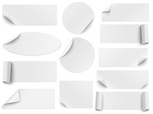 Set Of Vector White Paper Stickers Of Different Shapes With Curled Corners Isolated On White Background. Round, Oval, Square, Rectangular Shapes.
