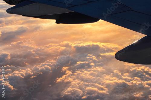 Valokuva aereo, ala, boing, sopra alle nuvole, volo, panorama