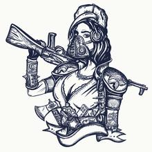Post Apocalypse. Soldier Woman In Gas Mask. Doomsday Girl And Kalashnikov Machine Gun. Post Apocalyptic Warrior. Game Art. Survival People. Dark Crime Future, Tattoo And T-shirt Design