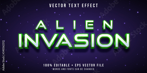 Editable text effect - alien invasion style Canvas Print