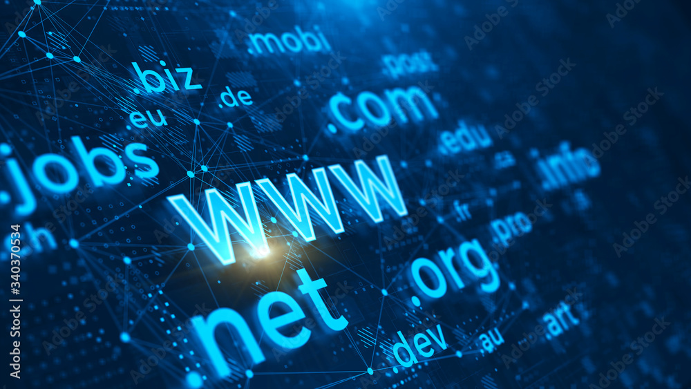 Fototapeta Domain names - internet and web telecommunication concept. 3d rendering