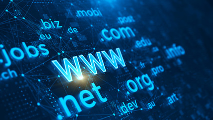 Domain names - internet and web telecommunication concept. 3d rendering