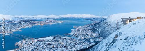 Fotografie, Obraz Panoramic view on Tromso, Norway, Tromso At Winter Time, Norway