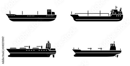 Papel de parede Set of large tanker ships. Modern tanker sea vessel.