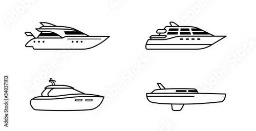 Set of oceanic yachts. Yacht ship concept. Luxury yachts side view.