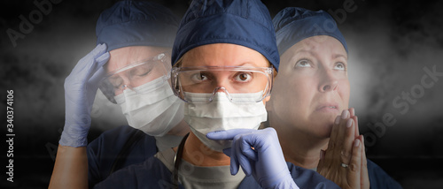 Obraz na plátne Female Doctor or Nurse Wearing PPE Crying, Praying and Facing Forward
