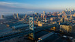 Aerial Drone Sunrise of Foggy Philadelphia