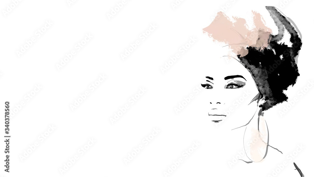 Fototapeta African American illustration for fashion banner. Trendy woman model background. Afro hair style girl