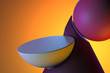 Leinwanddruck Bild - Round Showcase On Abstract Plastic Matte Figures Of Pink And Violet Colors on Bright Orange Background. 3d Rendering