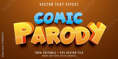 Editable text effect - cartoon parody style Canvas Print