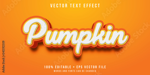 Obraz Editable text effect - orange pumpkin style - fototapety do salonu
