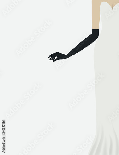 A woman wears a stylish glove and gown in a minimalist fashion and beauty illustration with ample space for text Wallpaper Mural
