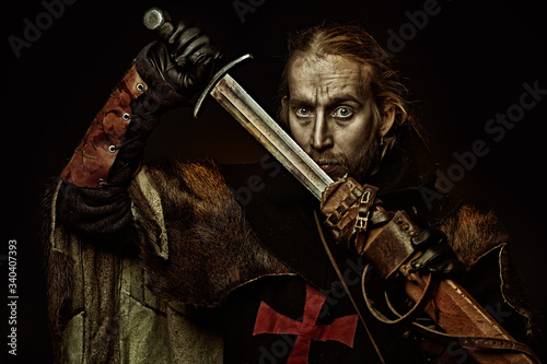 templar knight portrait Canvas Print
