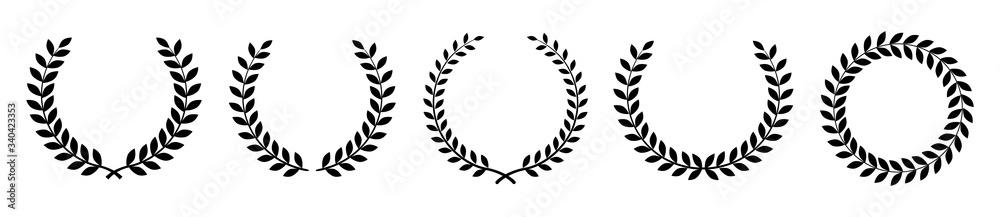 Fototapeta Laurel wreath of victory icon. Set black silhouette circular laurel foliate, wheat and oak wreaths depicting an award, achievement, heraldry, nobility. Emblem floral greek branch flat style