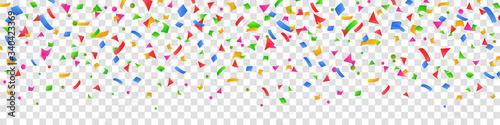 Fototapeta Falling colorful confetti flat design seamless pattern background isolated, group colored fly confetti - stock vector obraz na płótnie