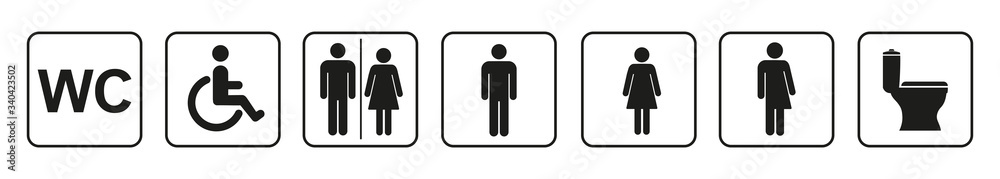 Fototapeta Toilet icons set, toilet signs, WC signs – vector