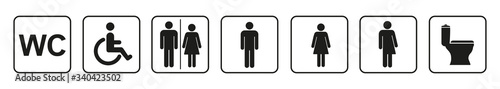 Toilet icons set, toilet signs, WC signs – vector