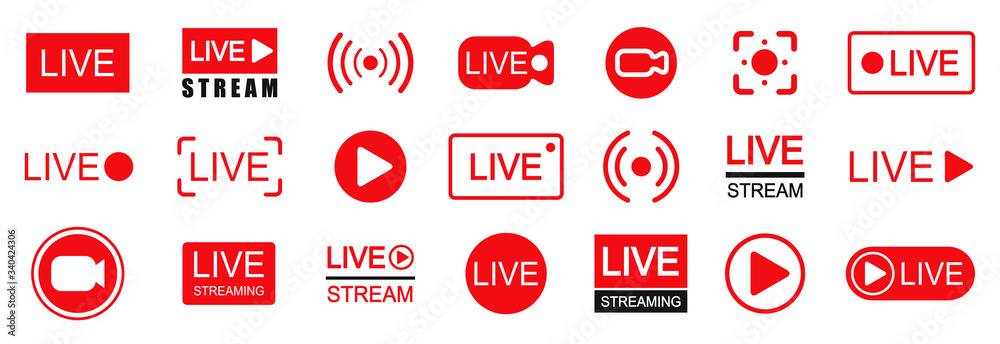 Fototapeta Set of live streaming icons. Set of video broadcasting and live streaming icon. Button, red symbols for TV, news, movies, shows - stock vector