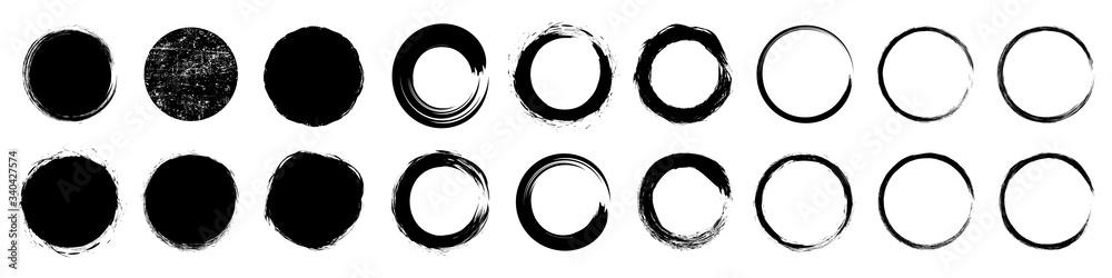 Fototapeta Set different circle brush strokes, hand drawn paint brush circle logo frame – for stock
