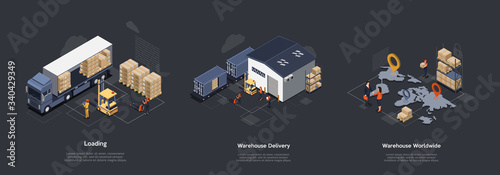 Fototapeta Isometric Warehouse Work Process Concept. On Time Worldwide Delivery. Delivery Equipment And Professional Work Staff Control Process Of Sorting, Loading and Unloading Cargo. Vector Illustrations Set obraz