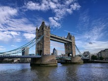 Low Angle View Of Tower Bridge Over River