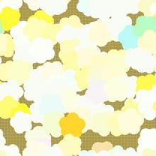 Abstract Yellow Green Flowers On Polka Dots Mustard Yellow Background. Kids Seamless Pattern.
