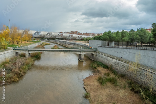 MADRID, SPAIN - DECEMBER 13, 2018: The Arganzuela bridge over Manzanares River downtown Madrid, Spain Canvas Print