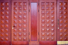 Vintage Dark Brown Doors From Redwood, Close-up Background