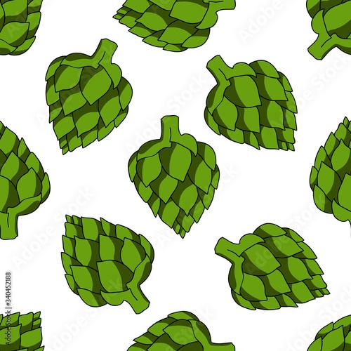Photo artichoke seamless doodle pattern