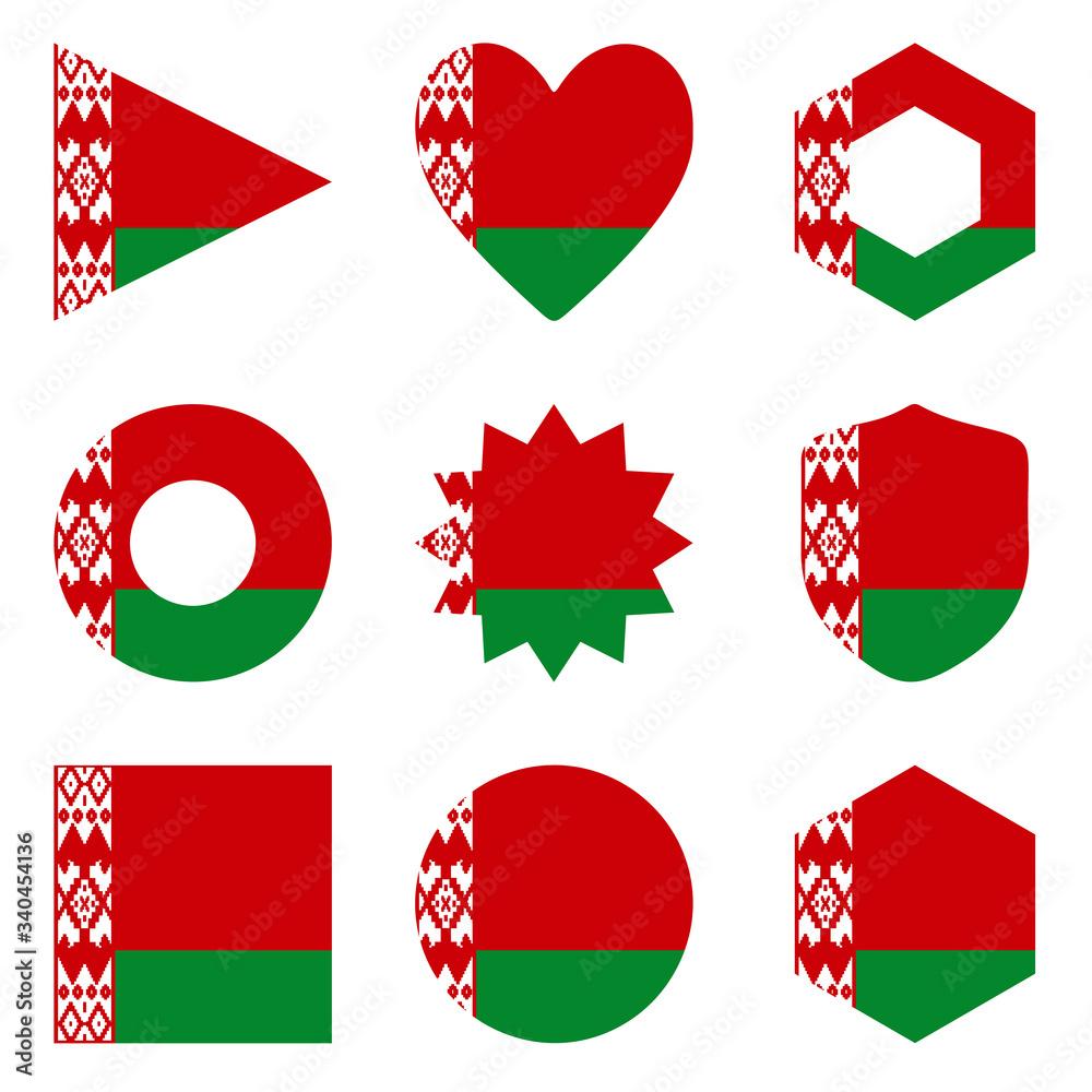 Fototapeta Set of nine form Belarus. Vector icons. National flag of the Belarus