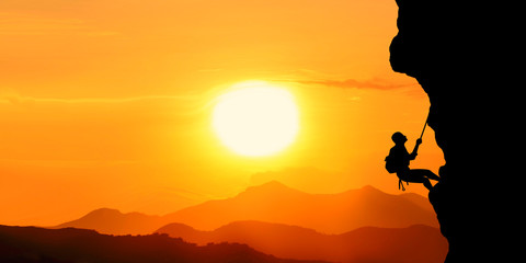 silhouette of a man in the sunset motivation landscape concept.