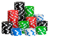 Colored Casino Chips Seamless Pattern Isolated On White Background. 3D Rendering Illustration Of Poker Chips.