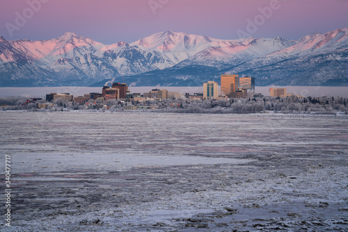Anchorage at Twilight Wallpaper Mural