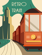 Vintage Style Retro Train Poster Or Card Design With An Old-fashioned Engine With Carriages On A Journey, Vector Illustration