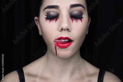 Fototapeta Woman Wearing Halloween Make-up obraz na płótnie