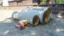 子供の遊び場、土管