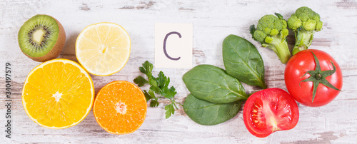 Fototapeta Fruits and vegetables as sources vitamin C, dietary fiber and minerals, strengthening immunity concept obraz