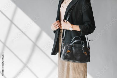 Fototapeta Black leather purse product shoot obraz